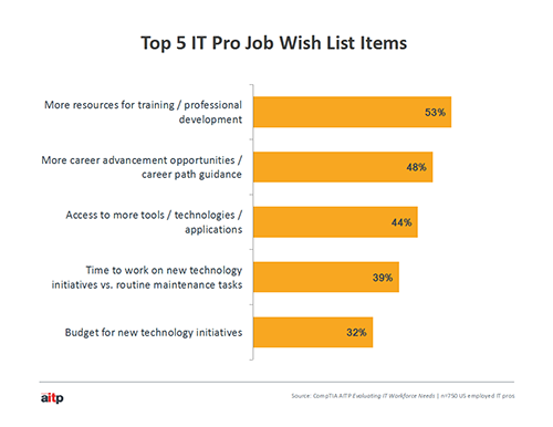 A bar chart illustrating IT pro wish list items for career development