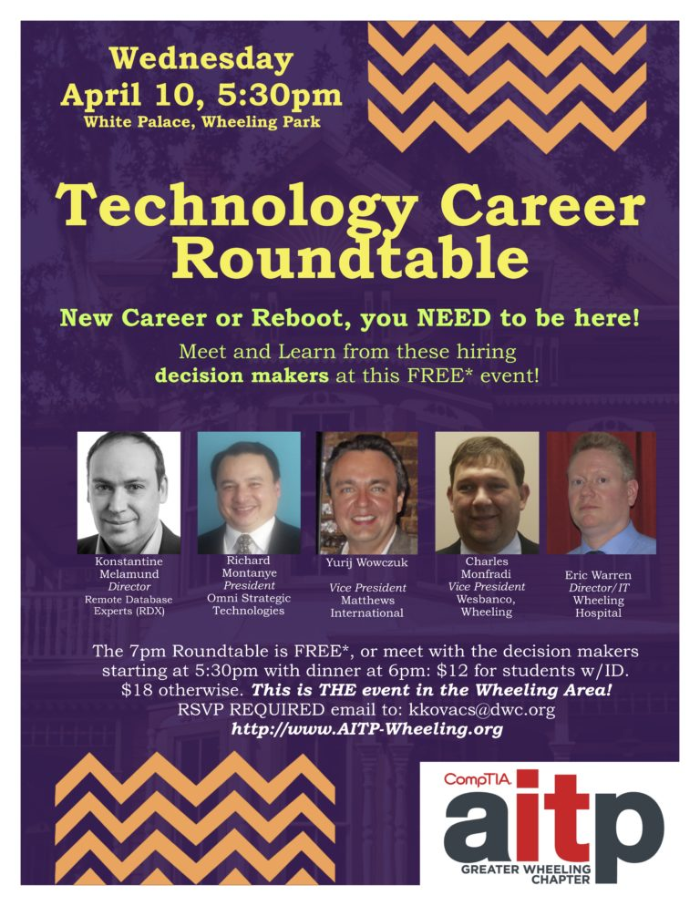 Tech Roundtable Flyer - Hosted by AITP Greater Wheeling Chapter