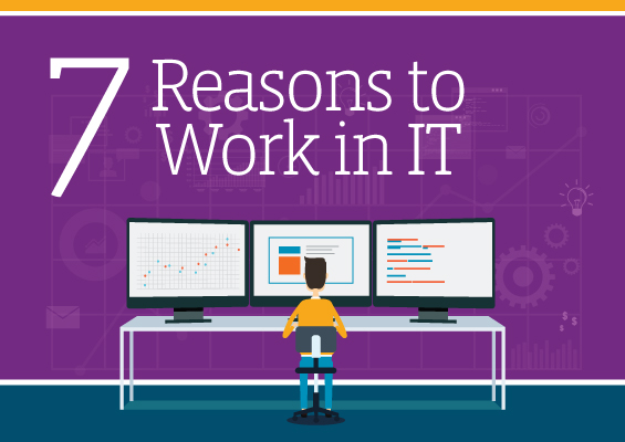 An IT pro sits at a workstation with the headline 7 Reasons to Work in IT