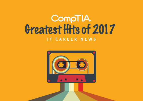 A cassette tape with the words CompTIA Greatest Hits 2017
