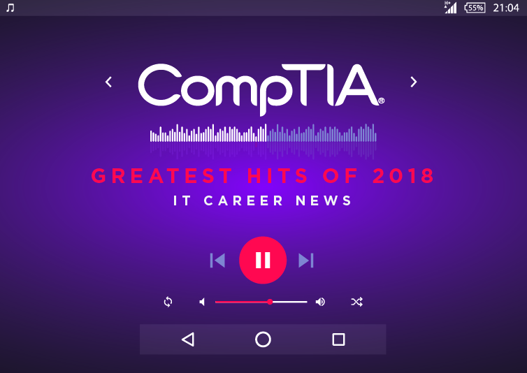 An image of a music player with CompTIA IT Career News greatest hits of 2018
