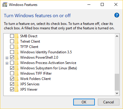 A screenshot of the menu to turn Windows features on or off