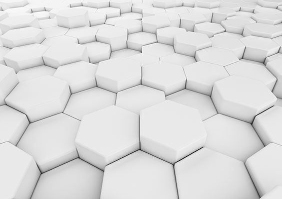 An abstract image of white hexagons