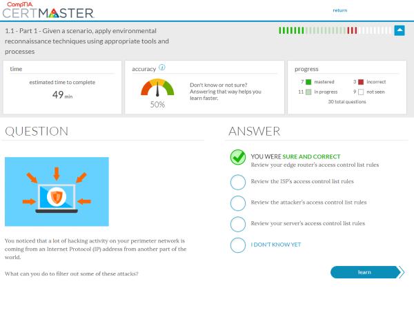 Screenshot of CompTIA CertMaster Practice
