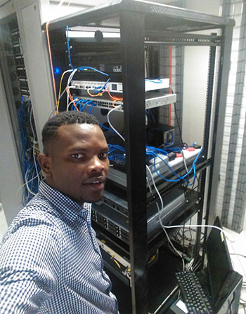 Clinton Melusi in the server room