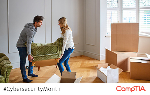 Two people share the load while moving a couch, similar to how cloud vendors and customers share the responsibility for cloud security