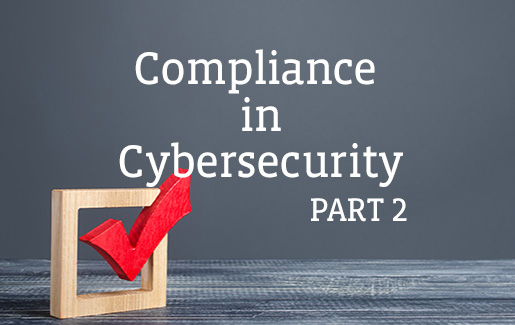 A photo of a red checkmark with the words Compliance in Cybersecurity, part 2