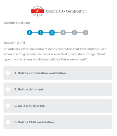 A screenshot showing an example multiple-choice question from a CompTIA A+ exam.