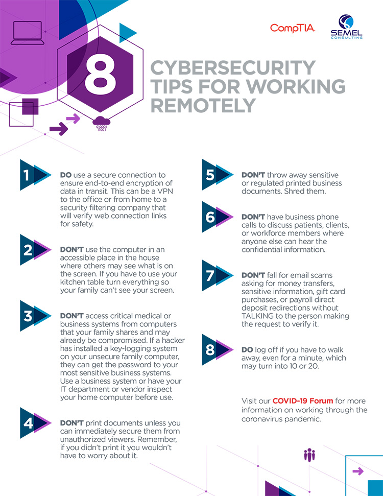 Eight Cybersecurity Tips to Working from Home