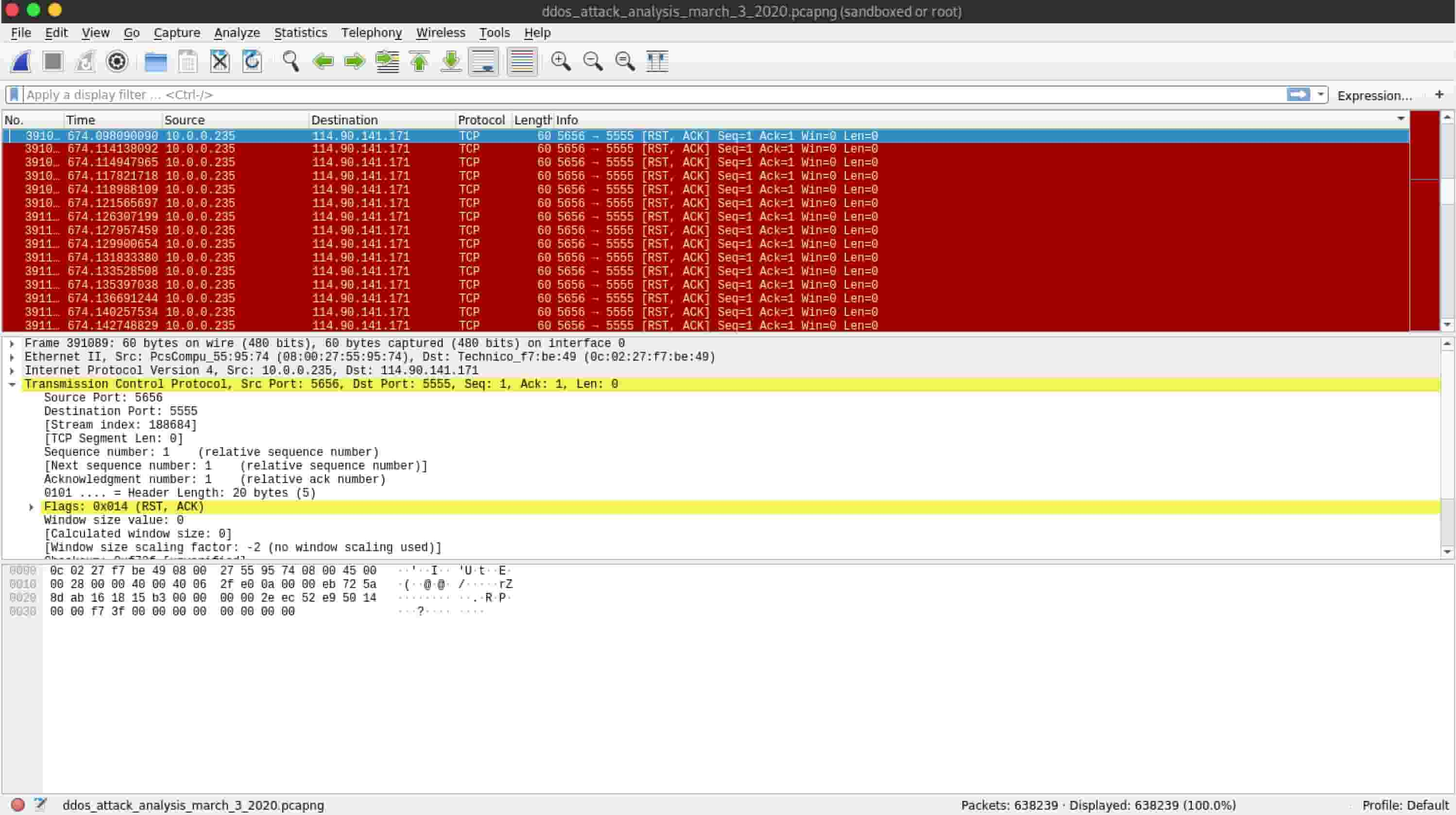 DDoS packets on Wireshark