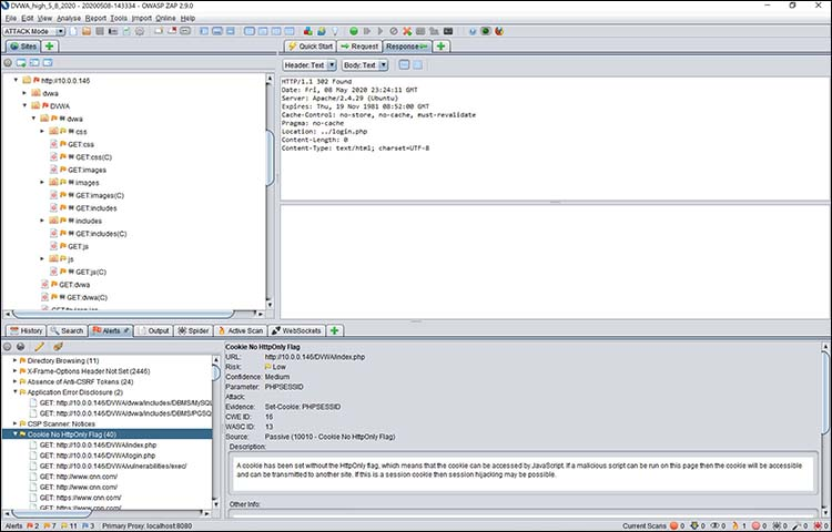 Viewing my DVWA web server in OWASP Zap