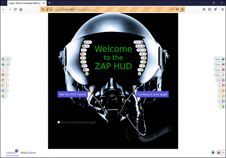 Starting the OWASP Heads Up Display (HUD) and viewing a page