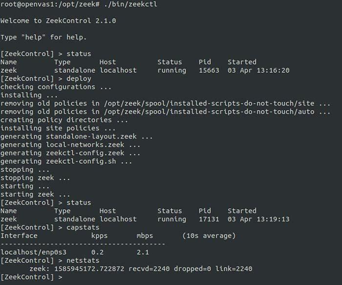 A screenshot of configuring and managing Zeek