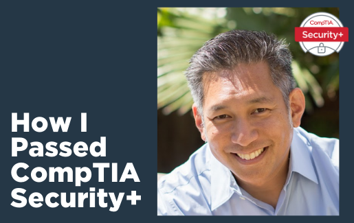 Headshot of Dave Kung with Security+ logo.
