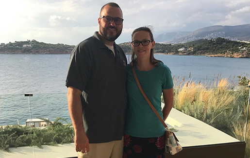 Military veteran Jacob Brady, who now works in cybersecurity, and his wife on vacation at the beach