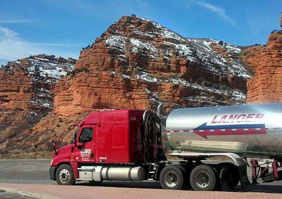 A Langer tanker truck driving in the mountains