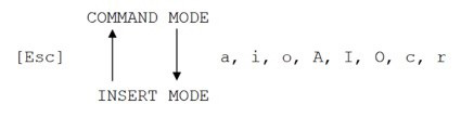A diagram showing the commands that apply to both Command mode and Insert mode in vi