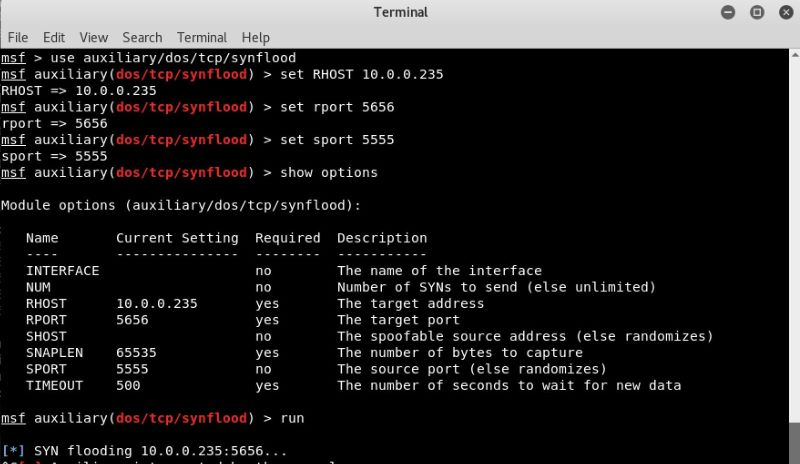 Metasploit to simulate a DDoS attack