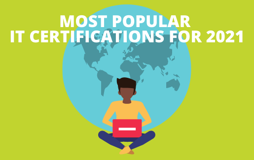 An animated picture of a globe with an IT professional sitting in front of it on a computer with the text Most Popular IT Certifications for 2021.
