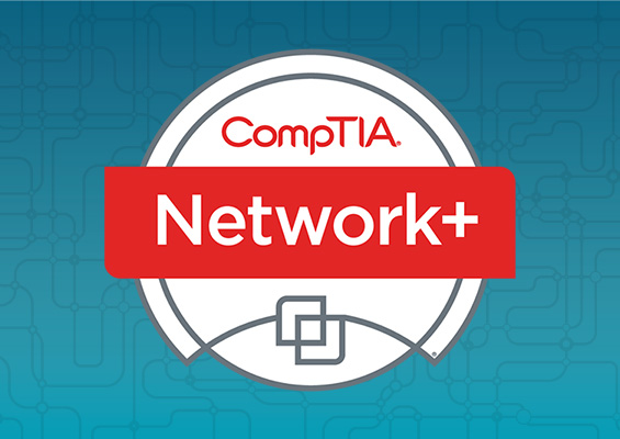 The CompTIA Network+ logo on a blue background with circuitry graphics