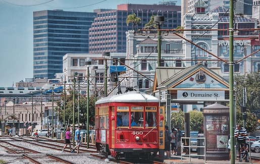 Downtown New Orleans, with a street car. The site of a recent cyber-attack.