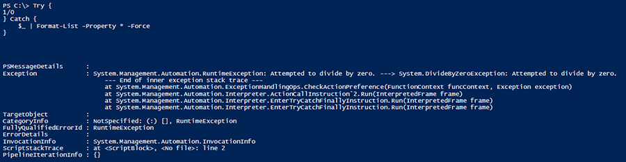 Try catch code in PowerShell
