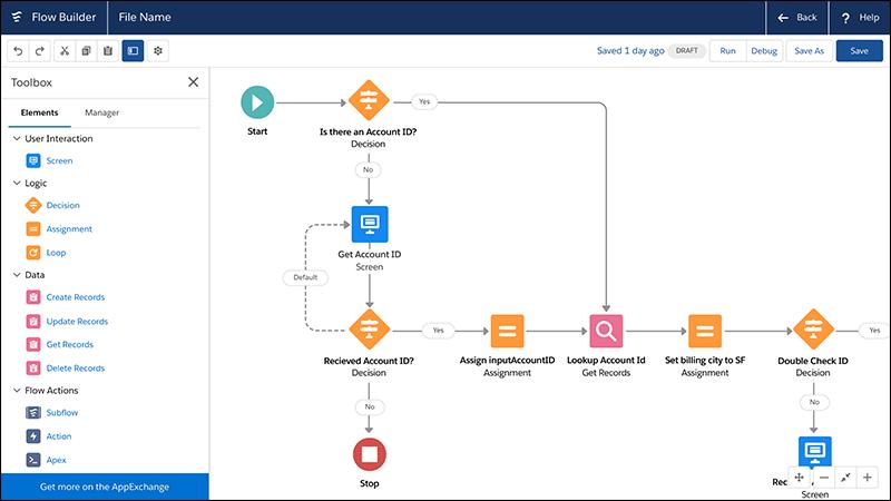 A screenshot of Salesforce's low-code development platform