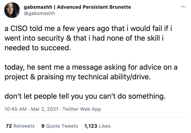 A screenshot of @gabsmashh's twitter