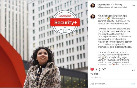 Gabby's instagram post about the comptia security+ exam.
