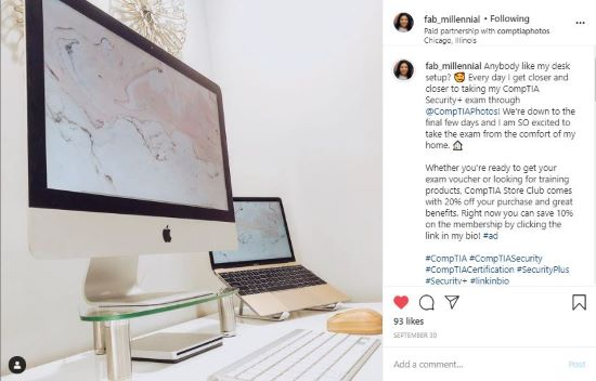 Gabby's instagram post of her desk setup at home.