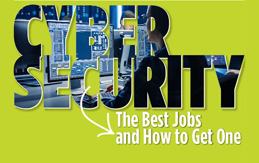 Bright green background with text that says The Best Cybersecurity Jobs and How to Get One