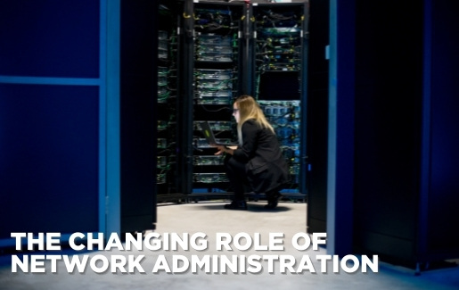 Woman in server room