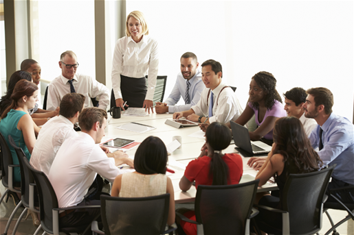 People gathered at conference table