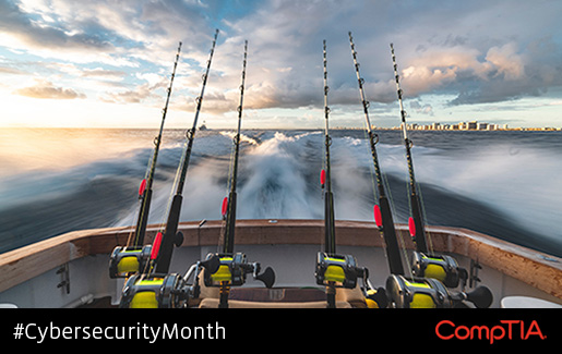 Fishing rods hanging out of a boat to illustrate a threat actor phishing for access.