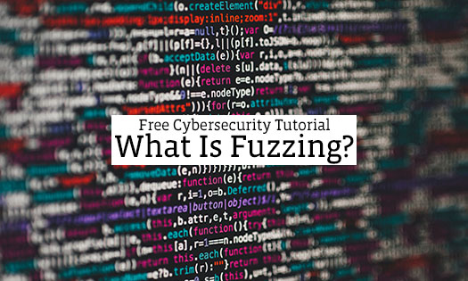A photo of code with an overlay of the words free cybersecurity tutorial: what is fuzzing?
