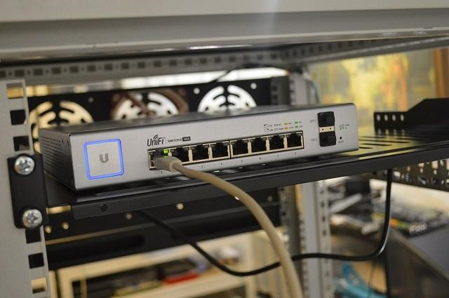 Ethernet cable plugged into a UniFi switch port