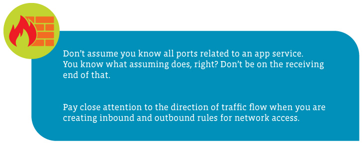 Alt: A callout box highlighting access control guidelines:1) Don't assume you know all ports related to an app service. You know what assuming does, right? Don't be on the receiving end of that. 2) Pay close attention to the direction of traffic flow when you are creating inbound and outbound rules for network access.