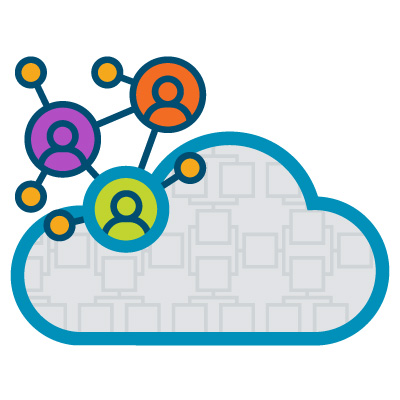 An illustration of a cloud with a network of users