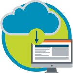 An illustration of a cloud with an arrow pointing to a computer