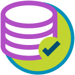 An illustration of a stack and a checkmark