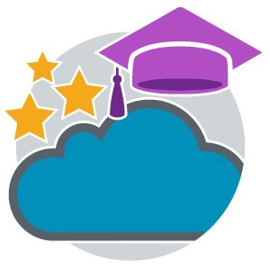 A cloud with stars and a graduation cap