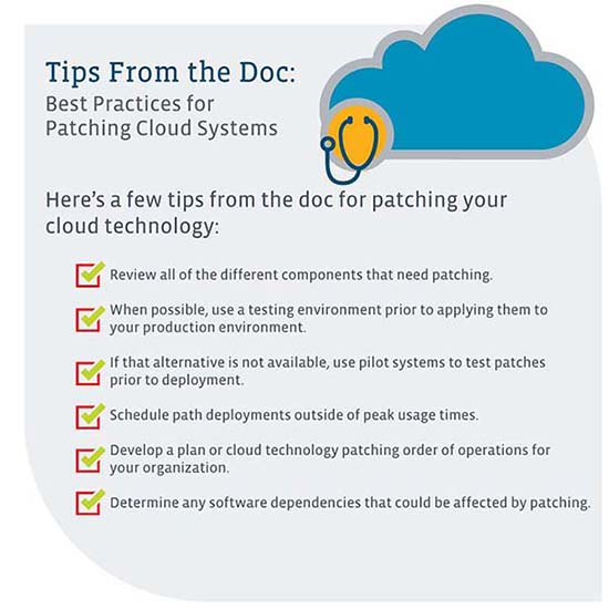 A visual of the tips for patching your cloud technology listed previously.