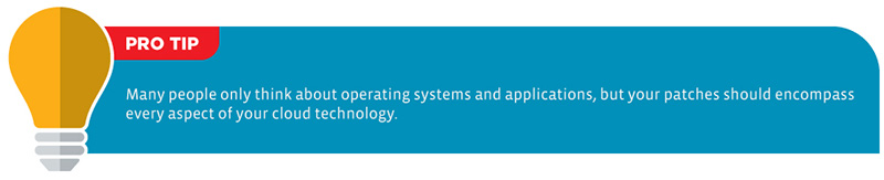 Pro Tip: Many people only think about operating systems and applications, but your patches should encompass every aspect of your cloud technology.