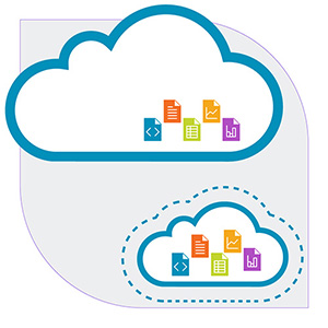 A diagram showing cloud storage with fat provisioning, where there are some files and a lot of extra space, and one with thin provisioning, where the files fill up the cloud, but the user has the potential to expand the capacity of cloud storage when needed.