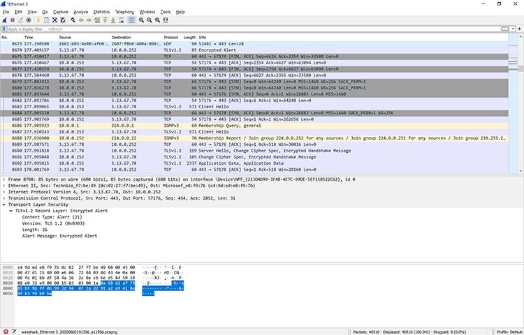 A screenshot showing colorized packets in Wireshark.