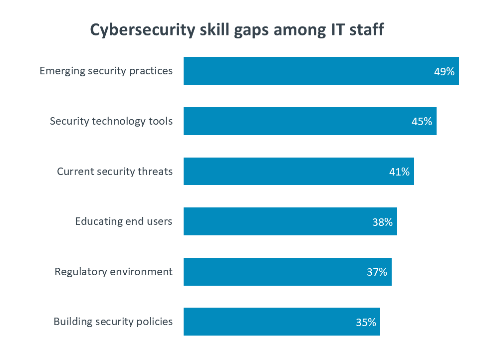 Cybersecurity skill gaps among IT staff