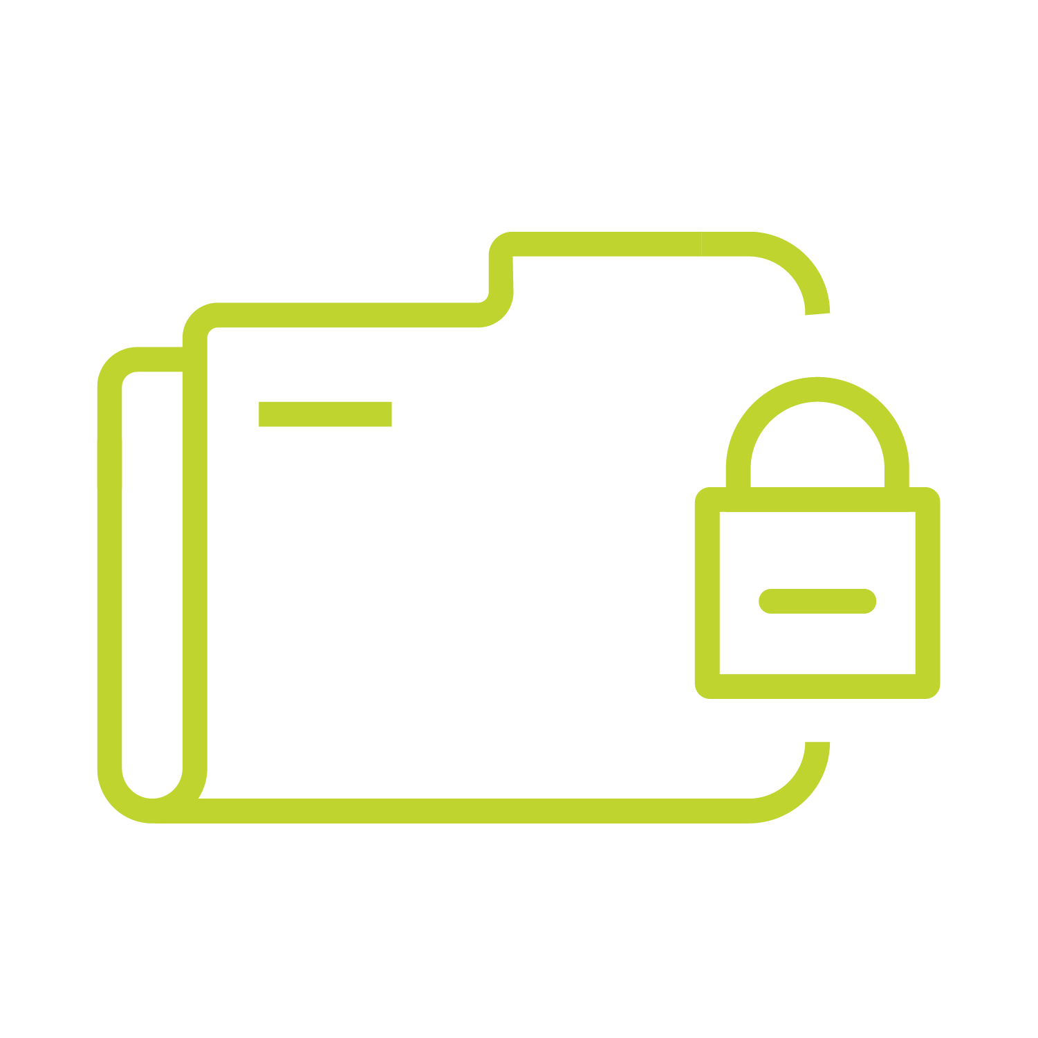 Green icon of a folder with a padlock on it