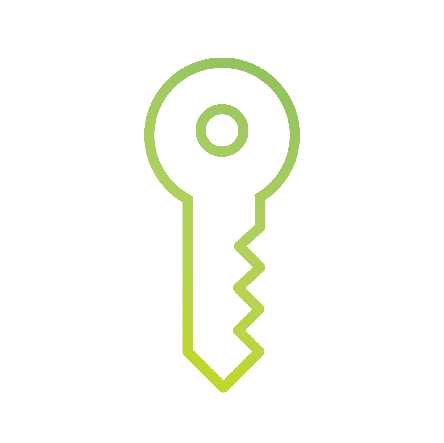 Green icon of a key