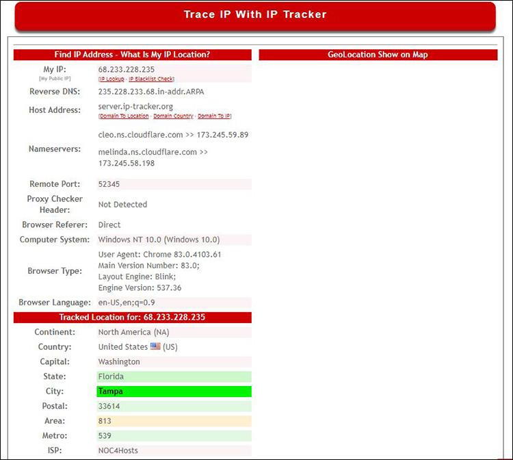 A screenshot of the IP Tracker website