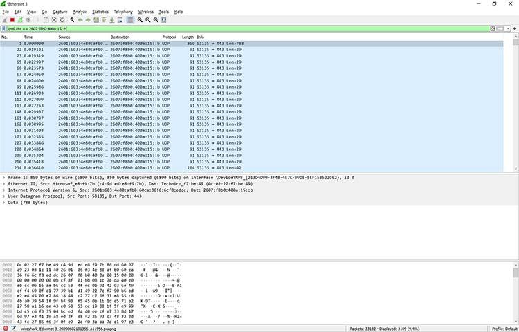 A screenshot showing an IPv6 filter in Wireshark
